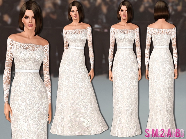 463 - Lace Wedding Dress by sims2fanbg