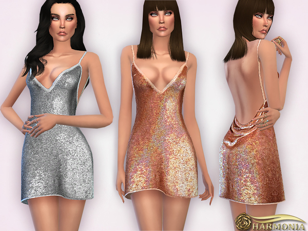 Sequins Party Flare Mini Dress by Harmonia