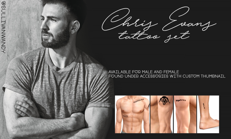 Chris Evans tattoos set by sullivanwandy