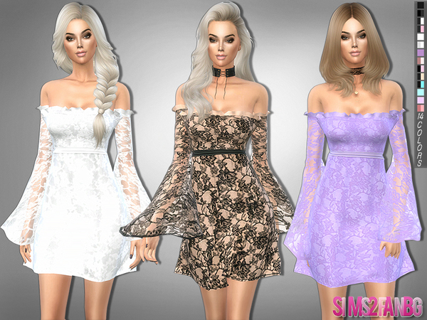 229 - Lace dress with transparent sleeves by sims2fanbg