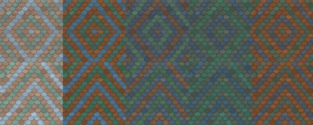 Rivendell mosaic roof tiles. 5 colors, 2 patterns. by Velouriah