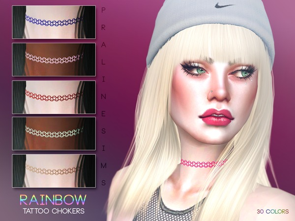 Rainbow Tattoo Chokers by Pralinesims