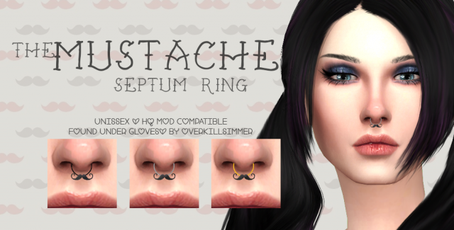 The Mustache Septum Ring by Overkillsimmer