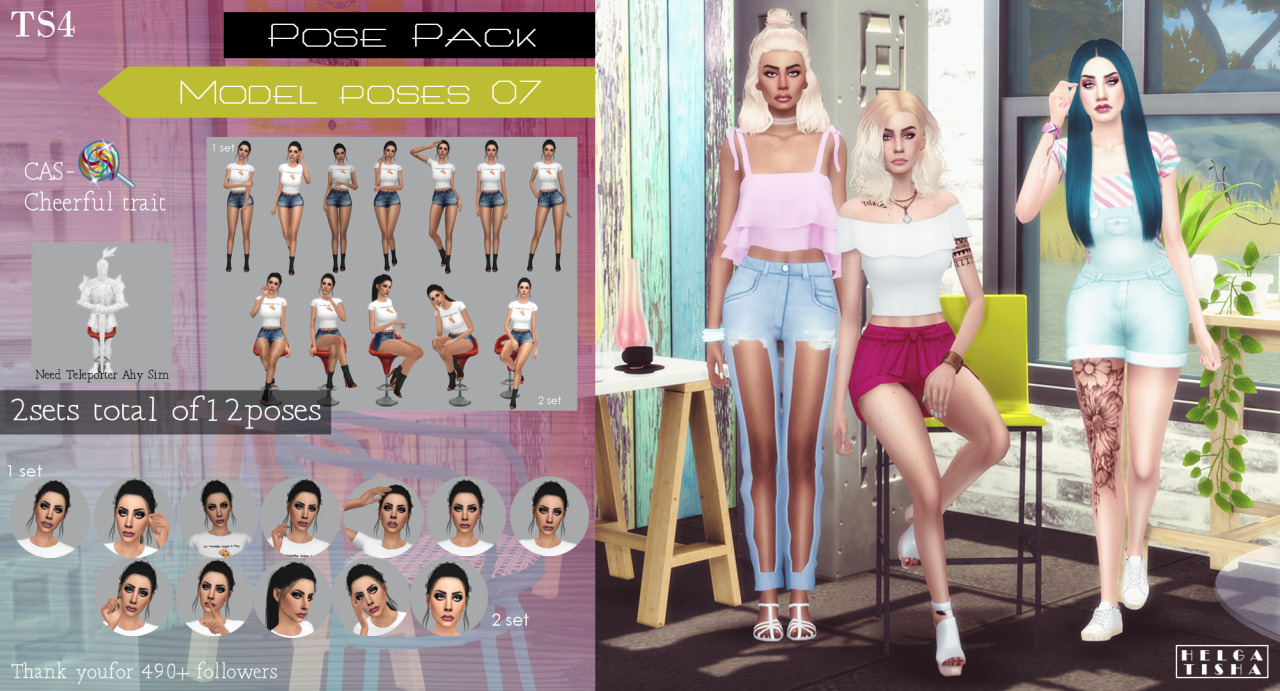 (TS4) Model poses 07 Pose Pack & CAS by Helgatisha