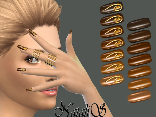 NataliS_Gold chocolate nails collection FT-FE