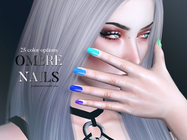 Ombre Nails N16 by Pralinesims