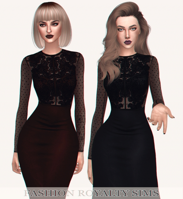 Lace Panel Bodycon Midi Dress by FashionRoyaltySims