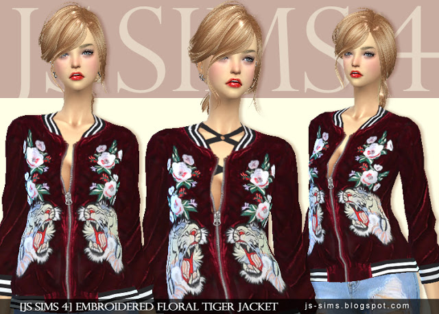 EMBROIDERED FLORAL TIGER JACKET by JS Sims 4