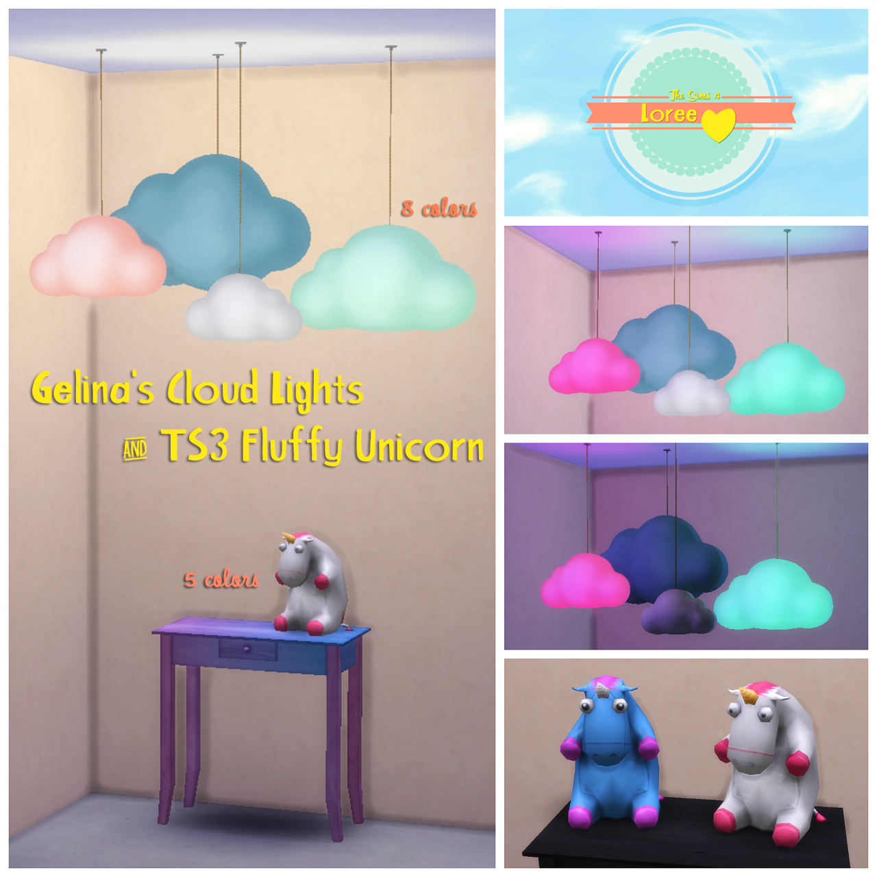 Updated - TS3 Gelina Cloud Lights and Fluffy Unicorn Conversion by Loree