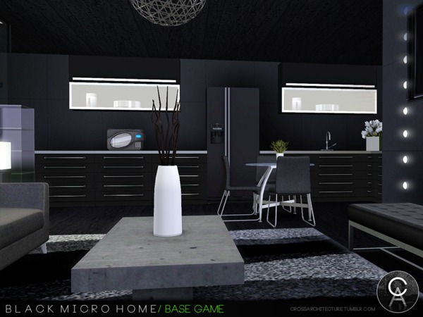 Black Micro Home by Pralinesims