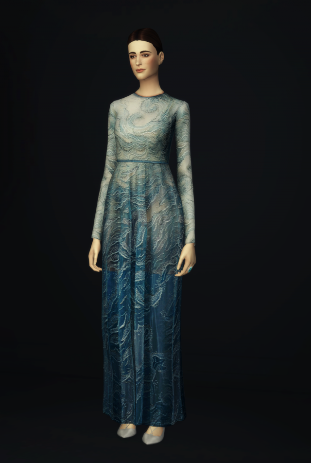 Glitter Blue Wave Gown by Valentino Pre-Fall 2016 by Rusty Nail