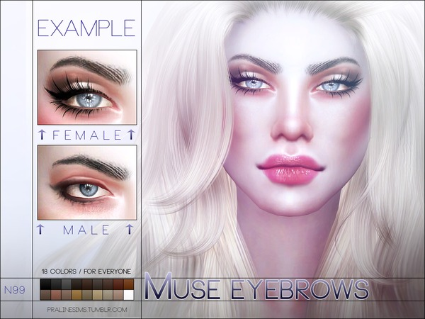 Muse Eyebrows N99 by Pralinesims