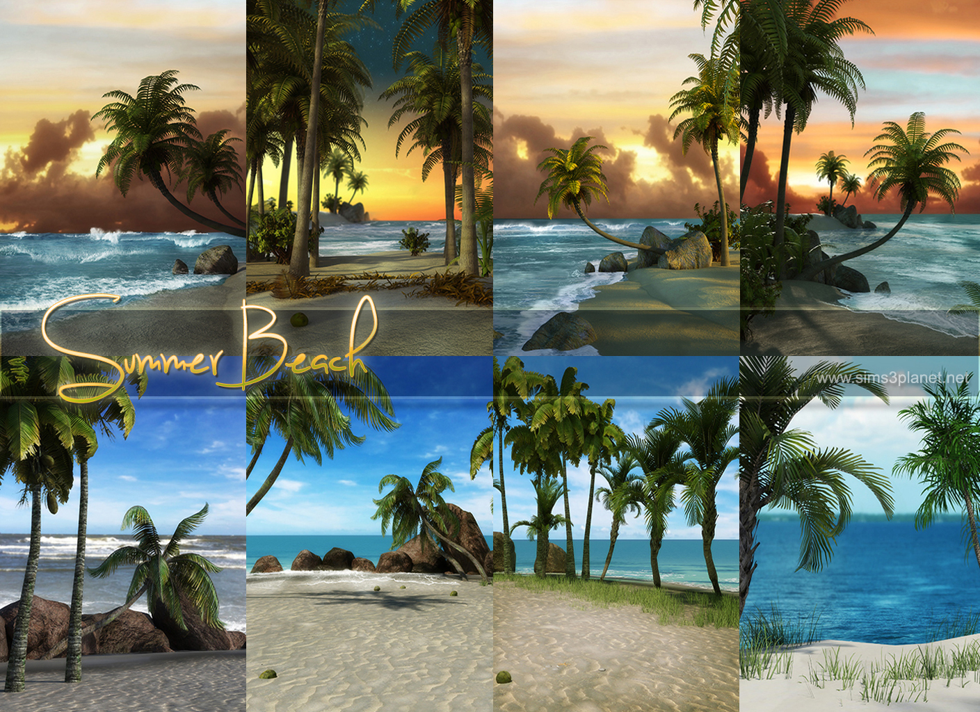 Summer Beach Backgrounds by lorelea