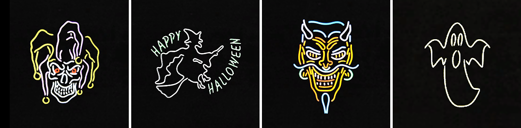 Neon Halloween Signs by DominationKid