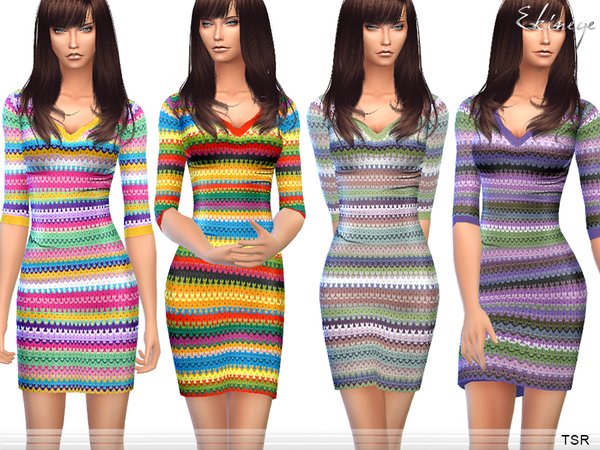 -Multicolor Knit Dress by ekinege