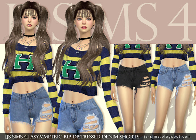 Ripped Denim Shorts by JS Sims 4