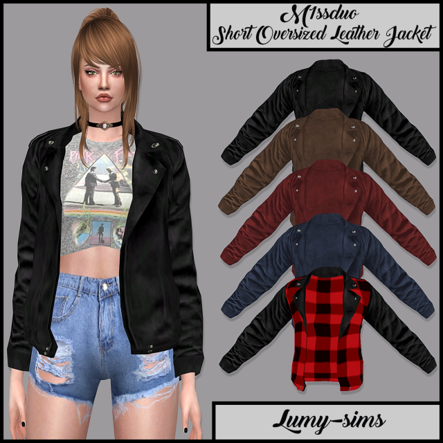 M1ssduo Short Oversized Leather Jacket by lumy-sims