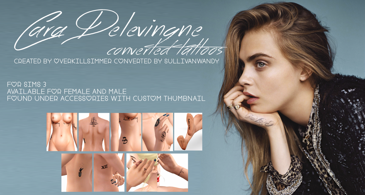Cara Delevingne Converted Tattoos от sullivanwandy