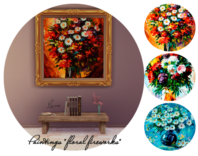 "Paintings ""floral fireworks"" by June"