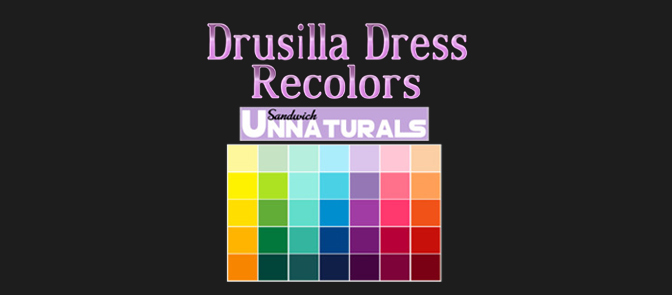 Drusilla Dress Recolors by Maimouth