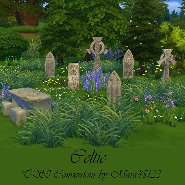 Celtic tombstones and picnic table by Mara45123
