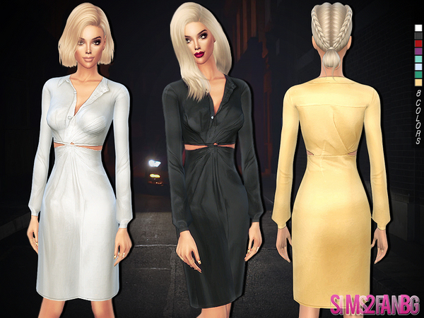 233 - Satin medium dress by sims2fanbg