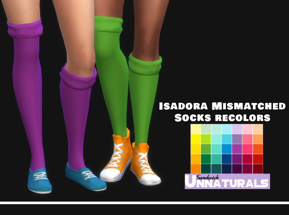 Isadora Mismatched Socks Recolors by Maimouth