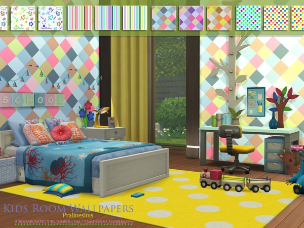 Kids Room Wallpapers by Pralinesims