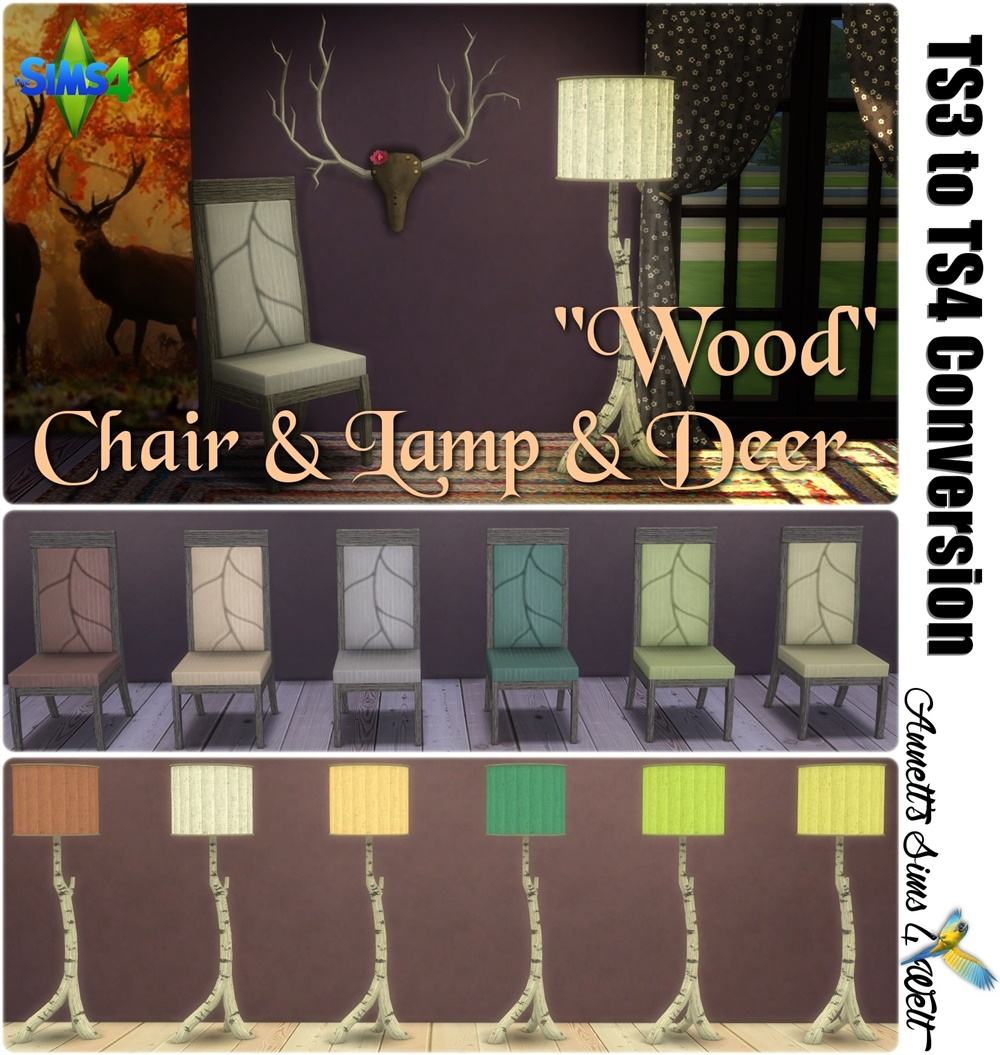 TS3 Wood Deer Chair and Lamp Conversion by Annett85