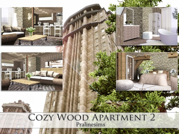 Cozy Wood Apartment 2 by Pralinesims