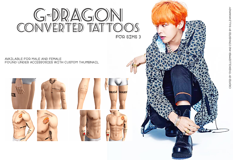 G-Dragon Converted Tattoos by sullivanwandy