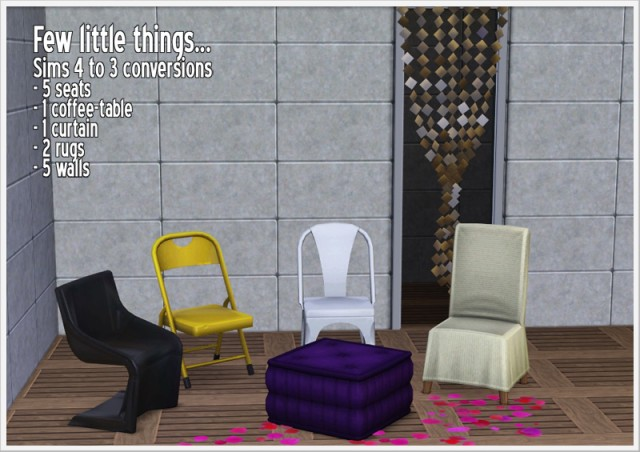Sims 4 to 3  Seats and other stuff by Sandy