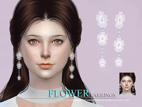 S-Club WM thesims4 flower earrings