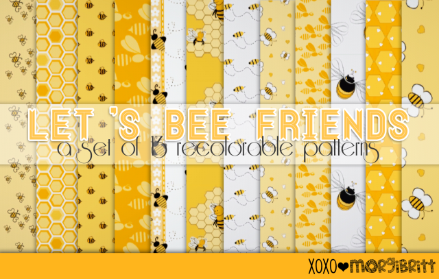 Lets Bee Friends - a bee themed pattern pack by morgibritt