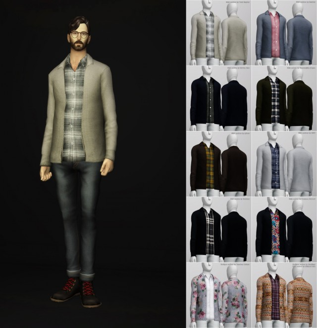Baisc Wool Cardigan with Shirt by Rusty Nail