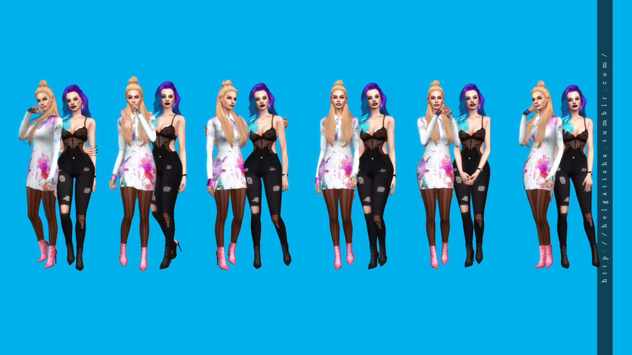 (TS4) Model poses 11  Pose Pack & CAS by HelgaTisha