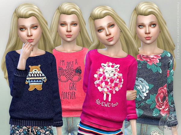 Printed Sweatshirt for Girls P21 by lillka
