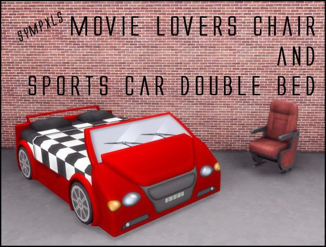 Movie Lovers Chair & Sports Car Double Bed by Sympxls