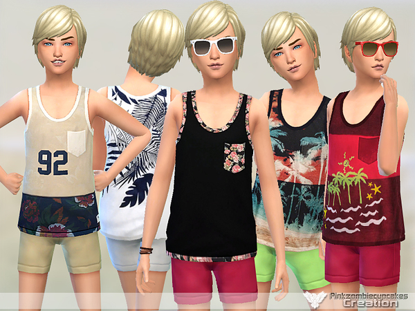 Boys Tank Top Collection 02 by Pinkzombiecupcakes