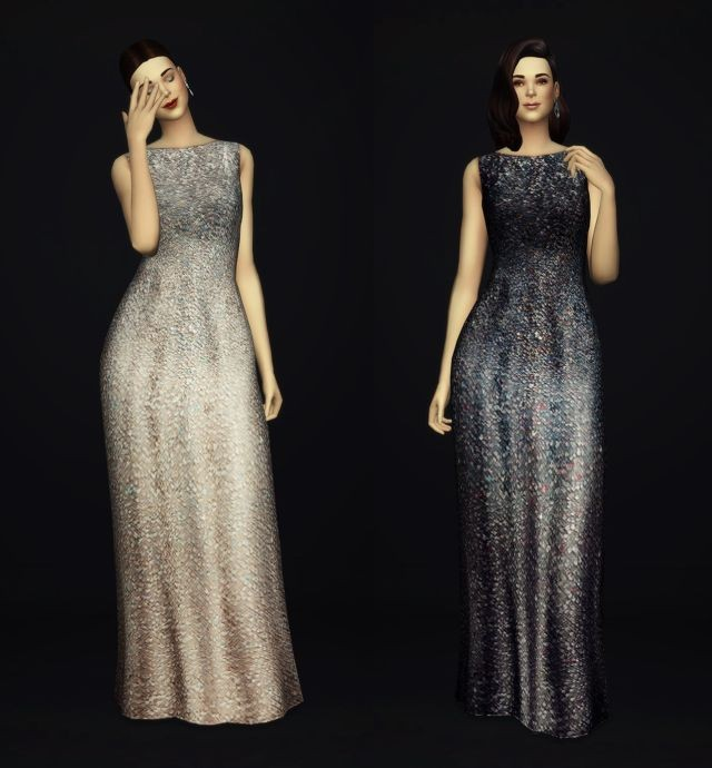 White-Silver Sequined Silk Gown by Rusty Nail