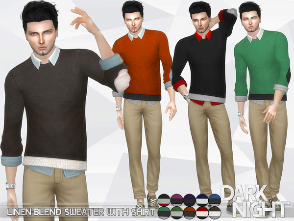 Linen-blend sweater with shirt by darknight
