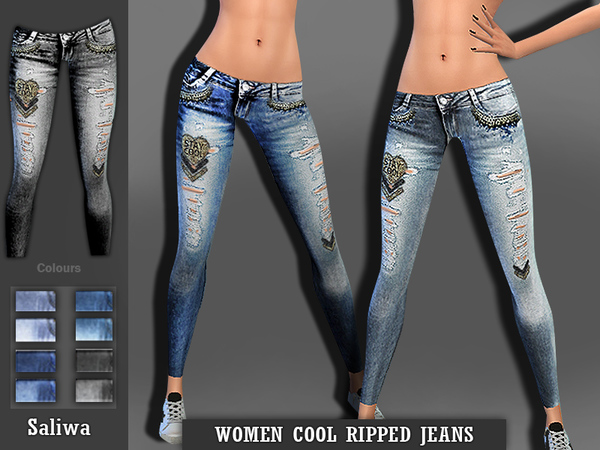 Women Cool Ripped Jeans by Saliwa