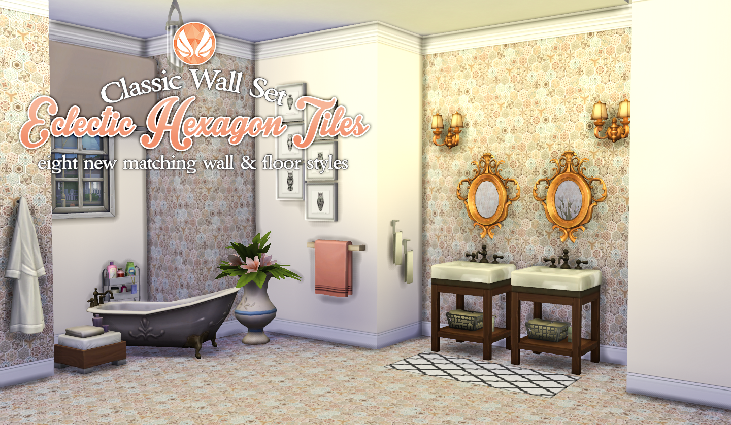Classic Wall Set - Eclectic Hexagon Tile Walls and Flooring by Peacemaker IC