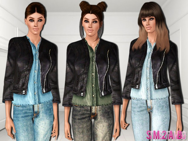 481 - Leather jacket with denim shirt by sims2fanbg