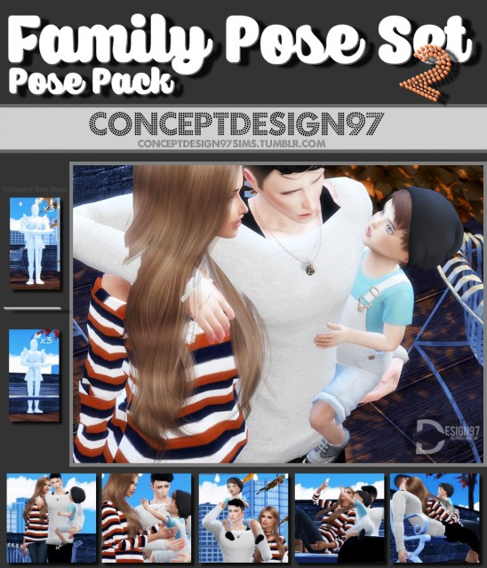 Family Pose Set 2 - Pose Pack version by ConceptDesign97