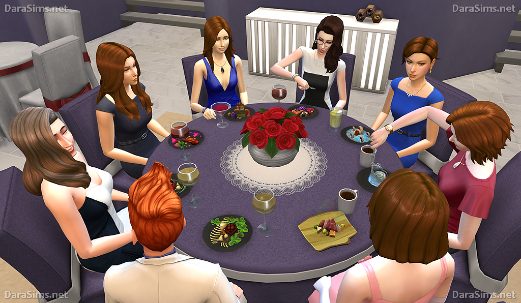 Big Round Festive Dining Tables For The Sims 4 6 8 Seats By Dara