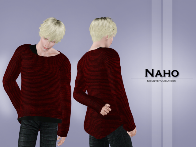 Naho - Big sized top with a half shirt showing by Nisuki