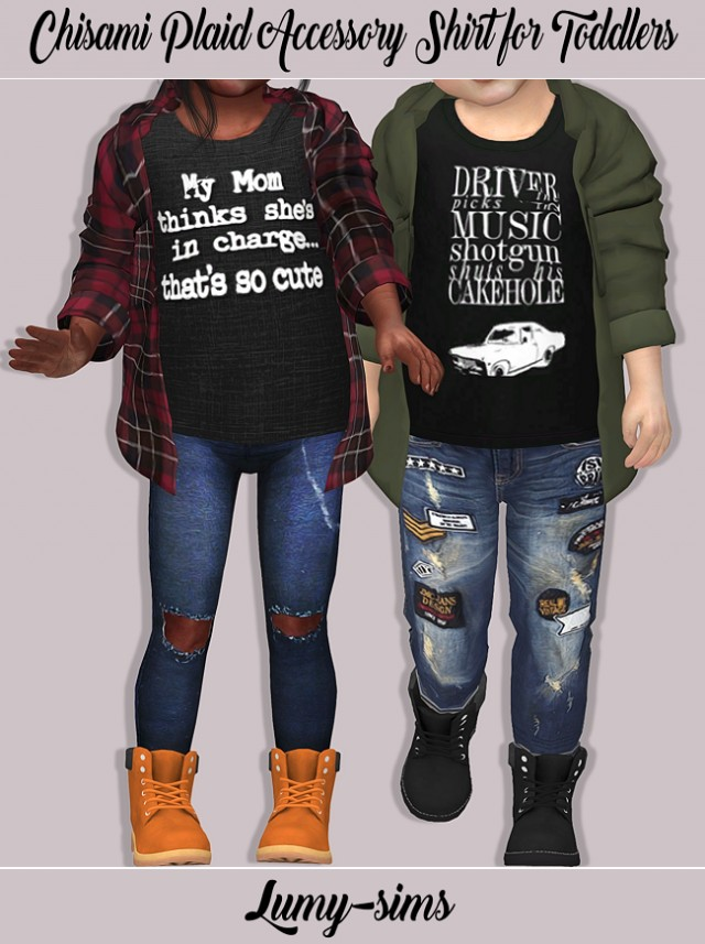 Chisami Plaid Accessory Shirt for Toddlers by Lumy-sims