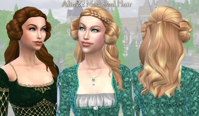 Medieval Long Hair with Buns & Metallic Hairnets Accessory by Alin22