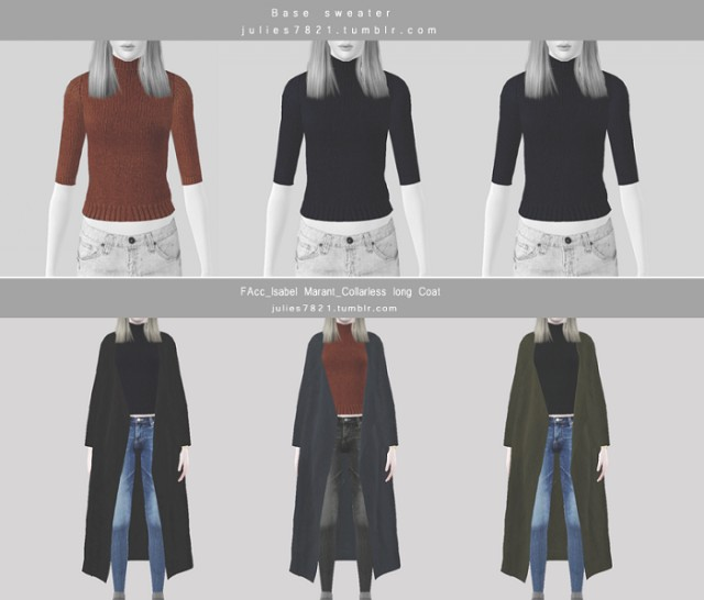 FAcc_Isabel Marant_Collarless long Coat & Base Sweater by Julies